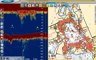 Dual Nav Sounder and 2D Raster chart Radar Overlay